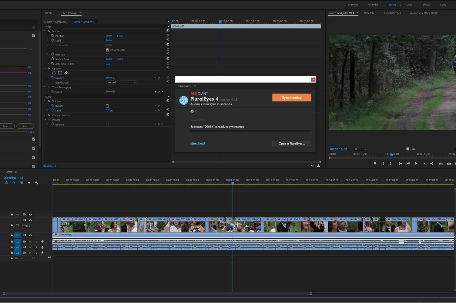 Videobeelden van meerdere camera's voor synchronisatie